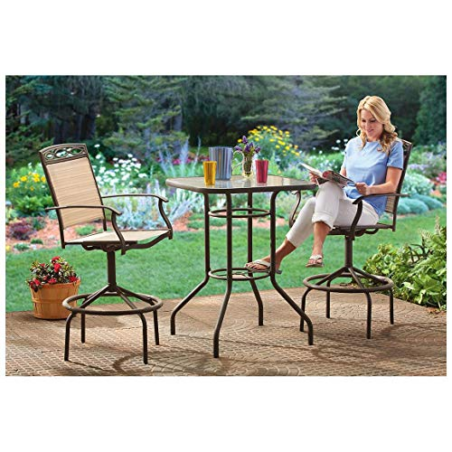CASTLECREEK Outdoor Patio Table & Chairs Furniture Set, 3 (Bar Height Patio Furniture)