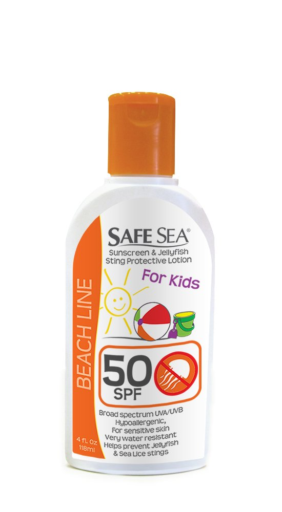 Safe Sea Anti-jellyfish Sting Protective Lotion- SPF50- Hypoallergenic Jellyfish & Sea Lice Prevention Sunscreen (for Kids, 4oz Bottle, Single Pack) by SAFE SEA