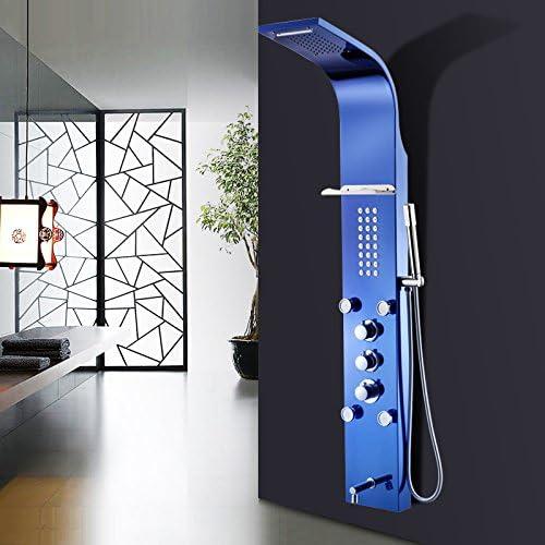 XBR Set de Ducha Inteligente de Temperatura Constante de Ducha mampara de Ducha combinada, Doble Control de Salida, Cobre Grifo de Ducha,Zafiro Azul: Amazon.es: Hogar