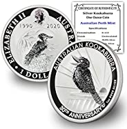 2020 AU Australia 1 oz Silver Kookaburra 30th Anniversary Edition Brilliant Uncirculated With Certificate Of A