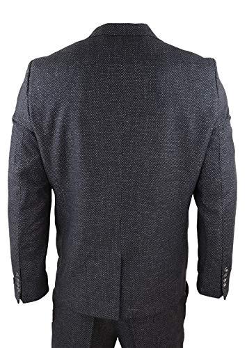 Fatto Pezzi Peaky Nero Misura Su 3 Tweed Stile Classico Blinders com Abito Truclothing w8qX6t