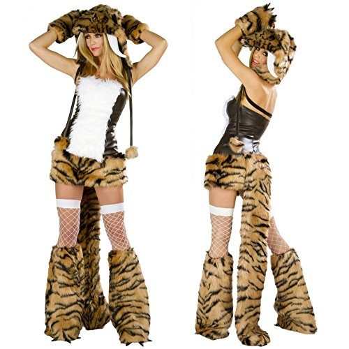 Women Sexy Adult Leopard tiger Halloween costume Loaded Temptation Set Sexy Plush animals Cosplay Costume