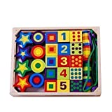 BJLWTQ Children's Wooden Lacing Beads Toy - Building Blocks Digital Geometric Shapen Color Cognitive Box Educational Activity with 27 Beads and 2 Laces