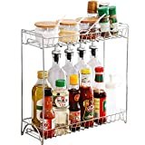 Spice Rack Organizer, Fresh Household 2 Tier Spice Jars Bottle Stand Holder Stainless Steel Kitchen Organizer Storage Kitchen Shelves Rack - Silver