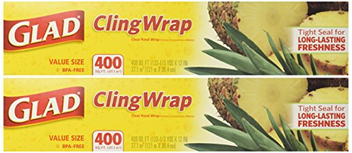 Glad Cling Plastic Wrap, 400-sq ft Roll 2PK