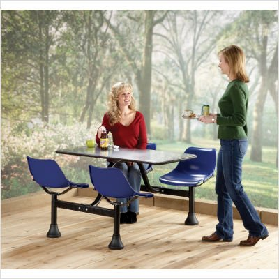 OFM Cluster Table with 4 Attached Swivel Chairs and Stainless Steel Top, Red by OFM (Image #3)