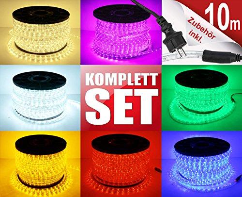 10m LED Lichterschlauch Lichtschlauch Lichterkette Licht Leiste 360 LEDs Xmas Schlauch Steckerfertig für Innen und Außen-Bereich - Komplett Set inkl. 20 Wandhalterungen - Warmweiß