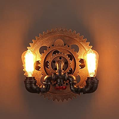 JinYuZe Retro New Rustic 2-Light Industrial Wall Sconce E26 Edison Light Fixture with Water Pipes and Gear wheels