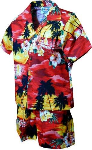 (Pacific Legend Boys Brilliant Hawaiian Island Sunset 2pc Set RED 1T)