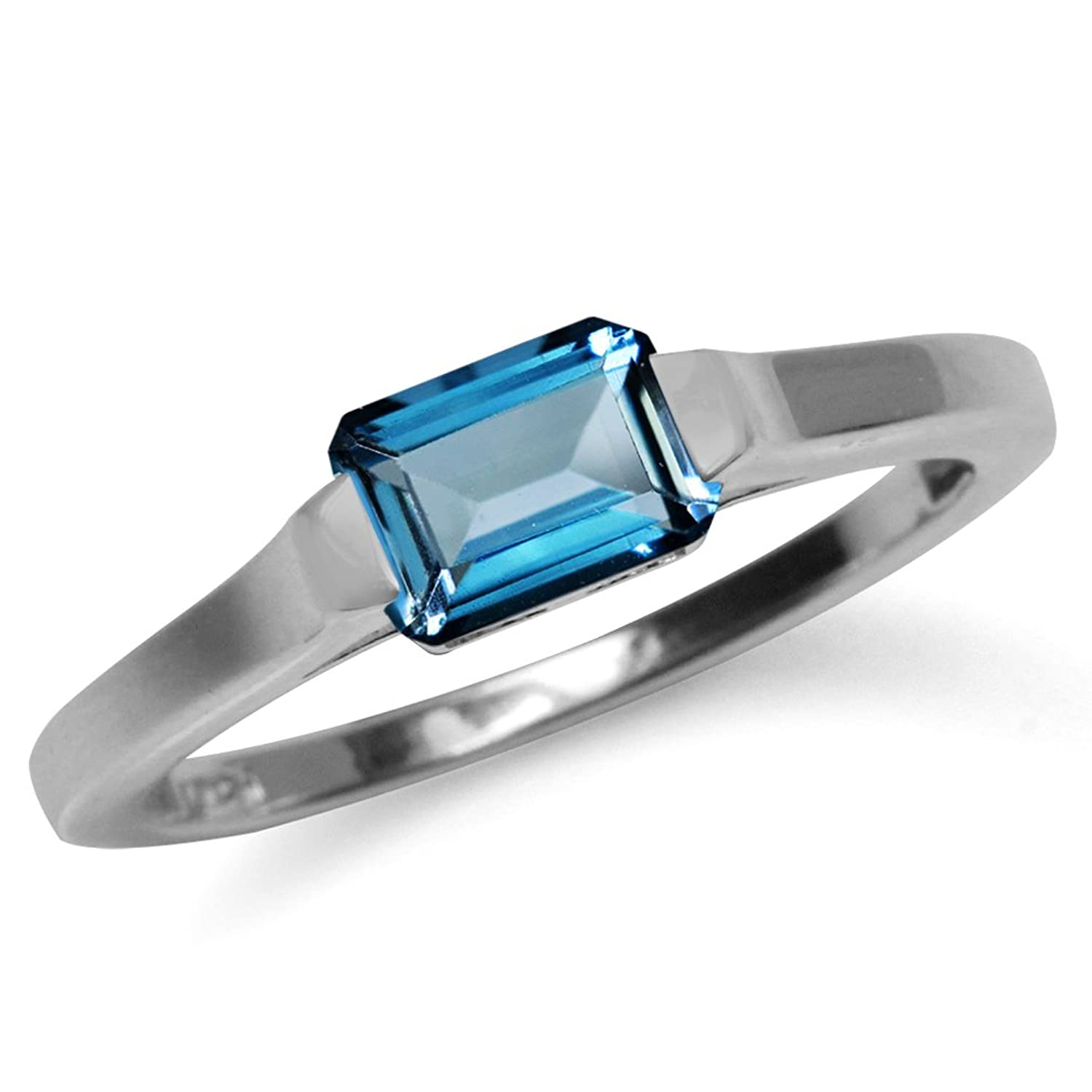 1.14ct. Genuine London Blue Topaz White Gold Plated 925 Sterling Silver Solitaire Ring