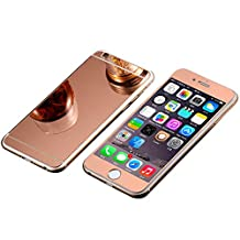 iPhone 6 Front+Back Colored Screen Protector, Elooptech Full Cover Premium Electroplating Mirror Tempered Glass Film Screen Protector Cover for iPhone 6/6S 4.7 inch, Rose gold