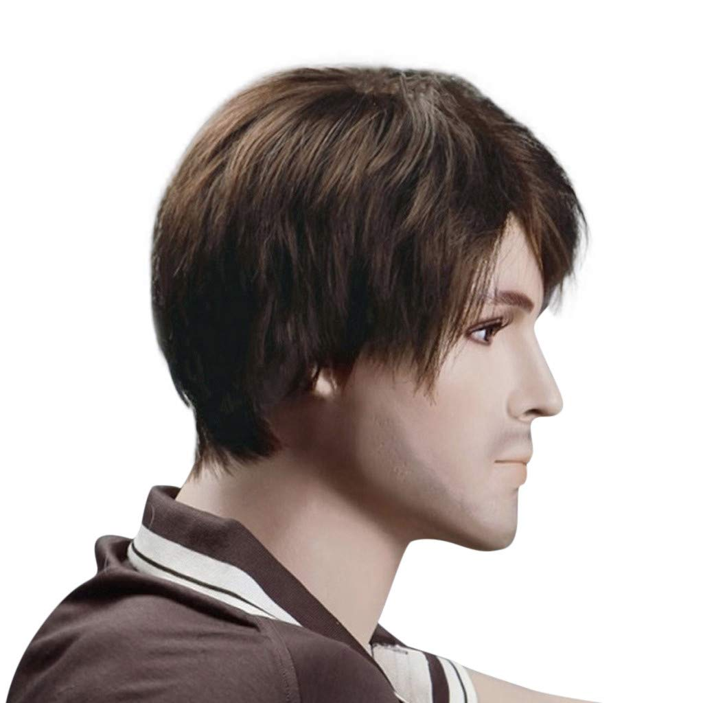 Brown Onefa Gentleman Rocker Men Fashion Short Hair Wig Perfect for Carnivals Party Cosplay Festival