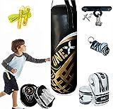 Onex Kids *Punching bag* Gloves Skipping Rope Boxing Bag Rucksack Mount Hook Set 2 ft Black Set, Perfect for Junior/Children Workout