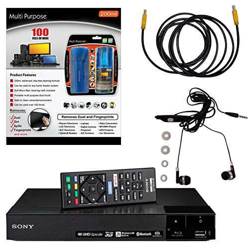 Sony Bluetooth Laptops (Sony BDP-S6700 4K Upscaling 3D Streaming Blu-ray Disc Player With Built In Wifi - 5 Pack Kit - Remote Control - 3 Pc Cleaning Kit - 10 FT High speed HDMI Cable - Xtreme Ear Buds (1 Year Warranty))