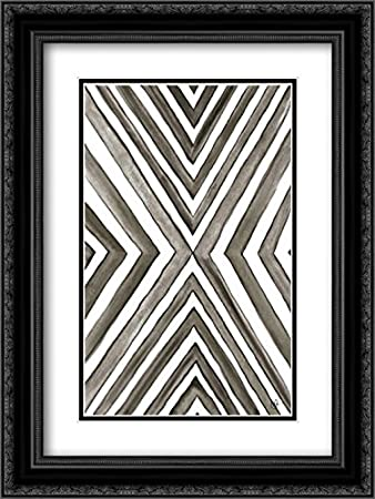 Angled black and white 2x matted 18x24 black ornate framed art print by papa kat