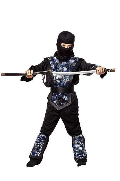 Disfraz infantil de ninja negro, plata y azul: traje ...
