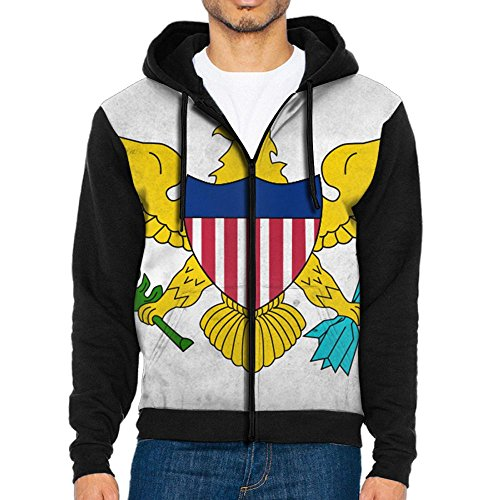 HDHHIFDP Men's Full-Zip Hooded US Virgin Islands Flag Fleece Sweatshirt ()