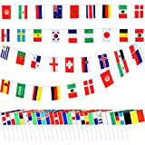 Frienda 32 Pieces Hand Held National Flags with 32 Pieces Flag Toothpicks and 2 Pack Flags Bunting Banners for Party Decorations Supplies