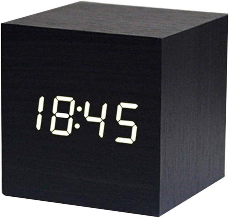 Najiny Mini Cubo Despertadores Digitales Madera Reloj Control de Sonido Luz LED,Muestra La Hora y Temperatura Adecuada para Viajes, Dormitorio de los niños, Hogar, Oficina-Negro