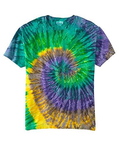 tie dye Adult Tie-Dyed Cotton Tee - Mardi Gras Spiral - L ()