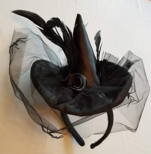 "Satin Spider Witch Hat - Loftus Mini Satin Witch Hat Spider Headband, Black Mesh, Feathers and Rose 5"" Crown, 1 per Order"