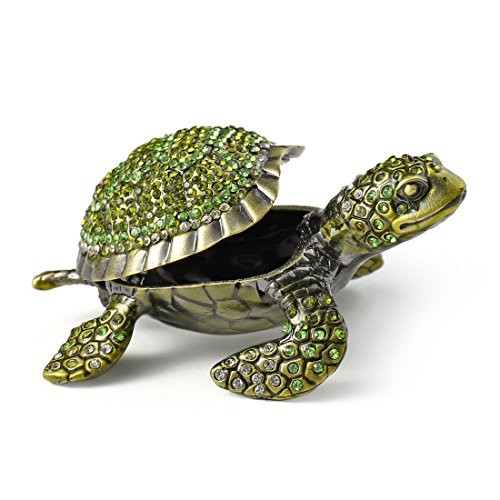 MICG Mini Green Rhinestone Turtles Hinged Trinket Box Hand-Painted Animal Figurine Collectible Mother's (Turtle Hinged Trinket Box)