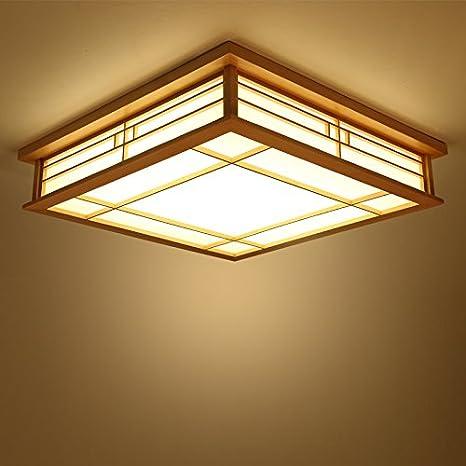 LYXG Luz de techo japonés madera maciza lámparas LED Lámparas de luz de tatami japonés salón luminoso (350mm*350mm*120mm) dormitorio balcón logs: Amazon.es: ...