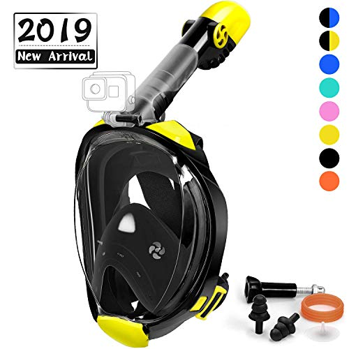 OUSPT Full Face Snorkel Mask, Snorkeling Mask with Detachable Camera Mount, Panoramic 180° View Upgraded Dive Mask with Newest Breathing System, Dry Top Set Anti-Fog Anti-Leak (Black-2, L/XL) ()