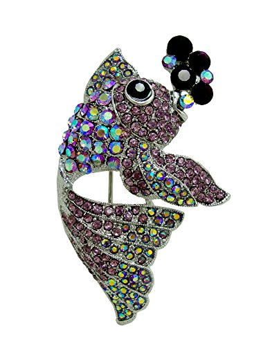 Pin Brooch Art Nouveau (TTjewelry Lovely Nagao Fish Austria Crystal Art Nouveau Brooch Pin (Purple))