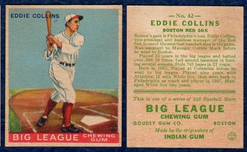 1933 goudey regular baseball card 42 eddie collins of the 1933 goudey regular baseball card 42 eddie collins of the boston red sox sciox Gallery
