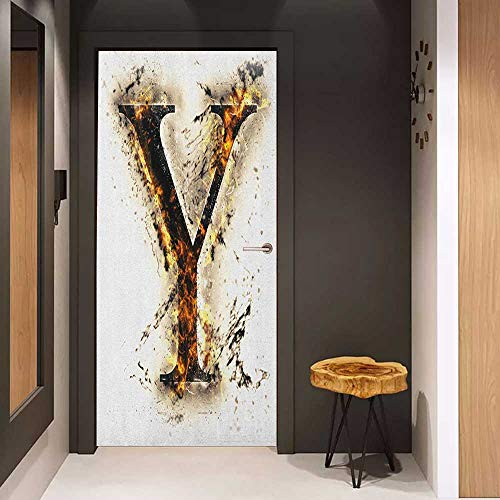 - Automatic Door Sticker Letter Y Capital Y in Flames Burning Grunge Gothic Style Conceptual Model of Alphabet Easy-to-Clean, Durable W31 x H79 Tan Black Orange