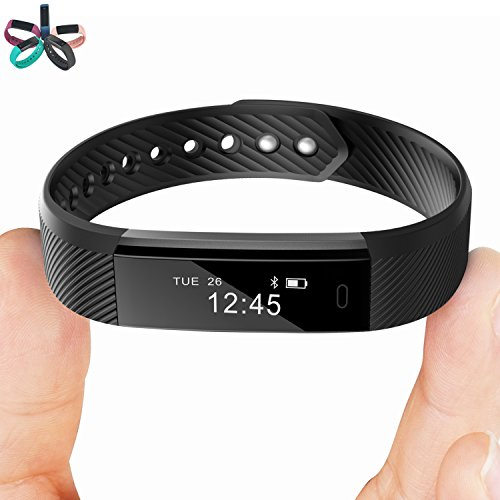Smart Bracelet Point Touch TopBest ID115 Bluetooth Call Remind Remote Self-Timer Smart Band Calorie Counter Wireless Pedometer Sport Sleep Monitor Activity Tracker For Android iOS Phone (Black)