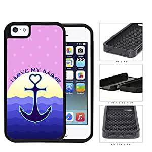 I Love My Sailor Navy Anchor Sunset Pink Polka Dots & Waves Background Case For HTC One M7 Cover (2-piece) Dual Layer High Impact Cell Phone Case