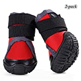 Hdwk&Hped Professional Dog Hiking Shoes, Small Meium Large Dog Outdoor Boots with Waterproof Vamp Adjustable Strap Anti-Slip Sole, Orange/Red, 45-#90 (#60, Red - 2pcs)