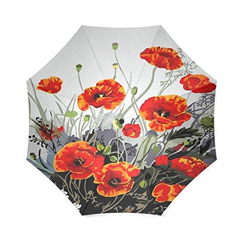 Beautiful Red Poppy Flower Art Folding Windproof outdoor Travel Umbrella for Women ()