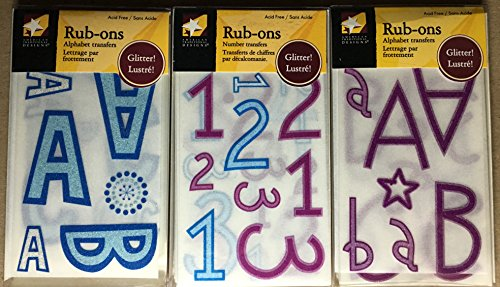 (American Traditional Boxed Rub-ons Bundle - Alphabets & Numbers - Bold Grape & Blue)