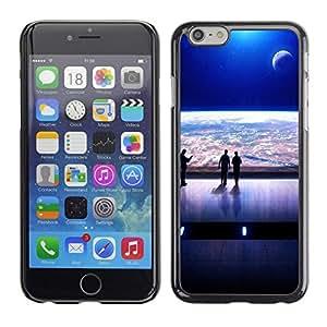 PC/Aluminum Funda Carcasa protectora para Apple Iphone 6 Plus 5.5 Spaceship View Futurism Art Earth Universe / JUSTGO PHONE PROTECTOR