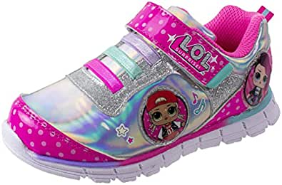 L.O.L. Surprise! Shoes, Light Up Sneaker and Athletic Tennis Shoes with Strap, MC Swag and Rocker, Little Girl/Big Girl Size 10 to 2, Ages 4+ Pink Size: 1 Little Kid