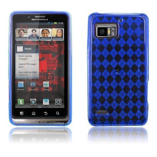 Motorola Droid Bionic XT875 - Blue Checker Argyle Transparent TPU Flex Skin Case [AccessoryOne Brand] ()