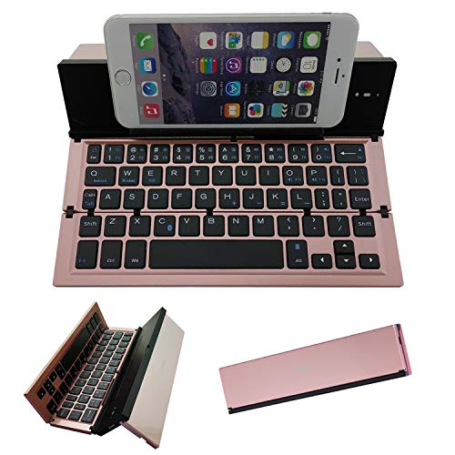 Folding Bluetooth Keyboard,Geyes Portable Travel Foldable Keyboard for iPhone Xs max/x/8/7 Plus/7/6s Plus/6/iPad 2018 9.7/Air 2 /Pro 9.7/iPad Mini 4, Samsung Android Tablet Smart Phone (Rose Gold)