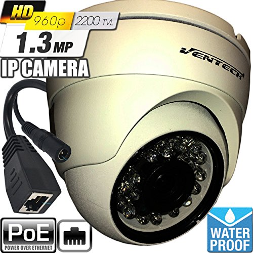 Network ip Camera ventech with video and power over cat5 960P POE (Power Over Ethernet ) Outdoor Home Security Surveillance Cam, Night Vision ir led IP66 Waterproof Stabler Connection Compared Wifi