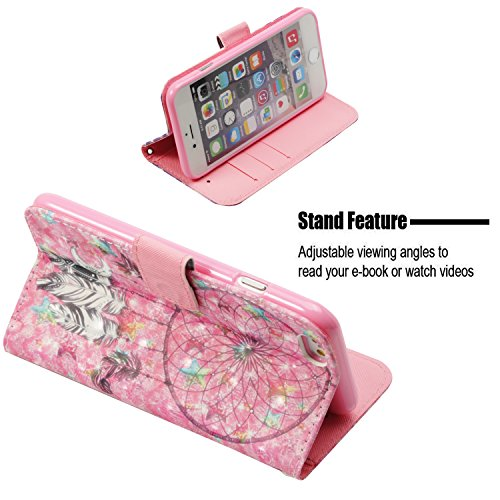 COZY Housse Wallet Portefeuille Fentes et Coque Stand Etui Cover Case iPhone 6S Protector HUT Leather 6 Coque Etui iPhone Flip Couverture Protection PU de Moon Bay Coquille Swag de vent Cuir Fonction de Carillon pour avec Car de pYHwZOqY
