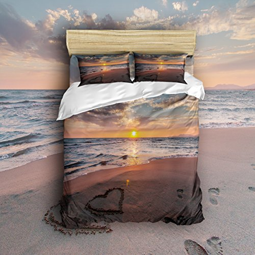 Cheap King Size 4 Piece Sunset Sea Beach Printed Home Comforter Bedding Sets Wrinkle Duvet Cover Sets Decoration for Childrens/Kids/Teens/Adults