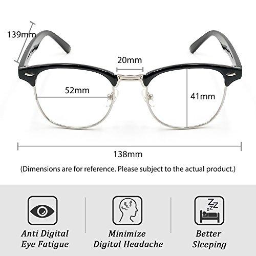 Cyxus Blue Light Blocking [Semi-Rimless] Computer Glasses, Anti UV Eye Strain Clear Lens Reading Video Eyewear, Men/Women by Cyxus (Image #5)