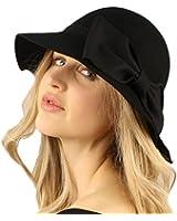 Winter Soft Wool 1920s Ribbon Bow Cloche Bucket Floppy Dress Hat Adjustable