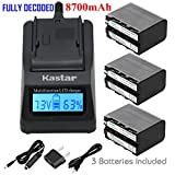 Kastar Ultra Fast Charger(3X faster) Kit and Battery (3-Pack) for Sony NP-F970 NP-F960 F960 and DCR-VX2100 HDR-AX2000 FX1 FX7 FX1000 HVR-HD1000U V1U Z1P Z1U Z5U Z7U FS100U FS700U and LED Video Light