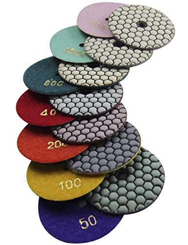 "Konfor Diamond Dry/Wet 3"" Polishing Pads for Stone Polisher, 7-Step Abrasive Buffing Set"