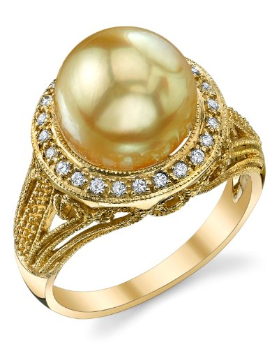 Golden Sea South Pearl 11mm (11mm Golden South Sea Cultured Pearl & Diamond Natasha Ring in 18K Gold)