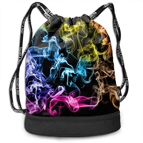 - Homlife Multifunctional Drawstring Backpack, Portable Bundle Backpack, Yoga Runner Daypack Shoe Bags with Colorful Smog Art Pattern for Sports Travel
