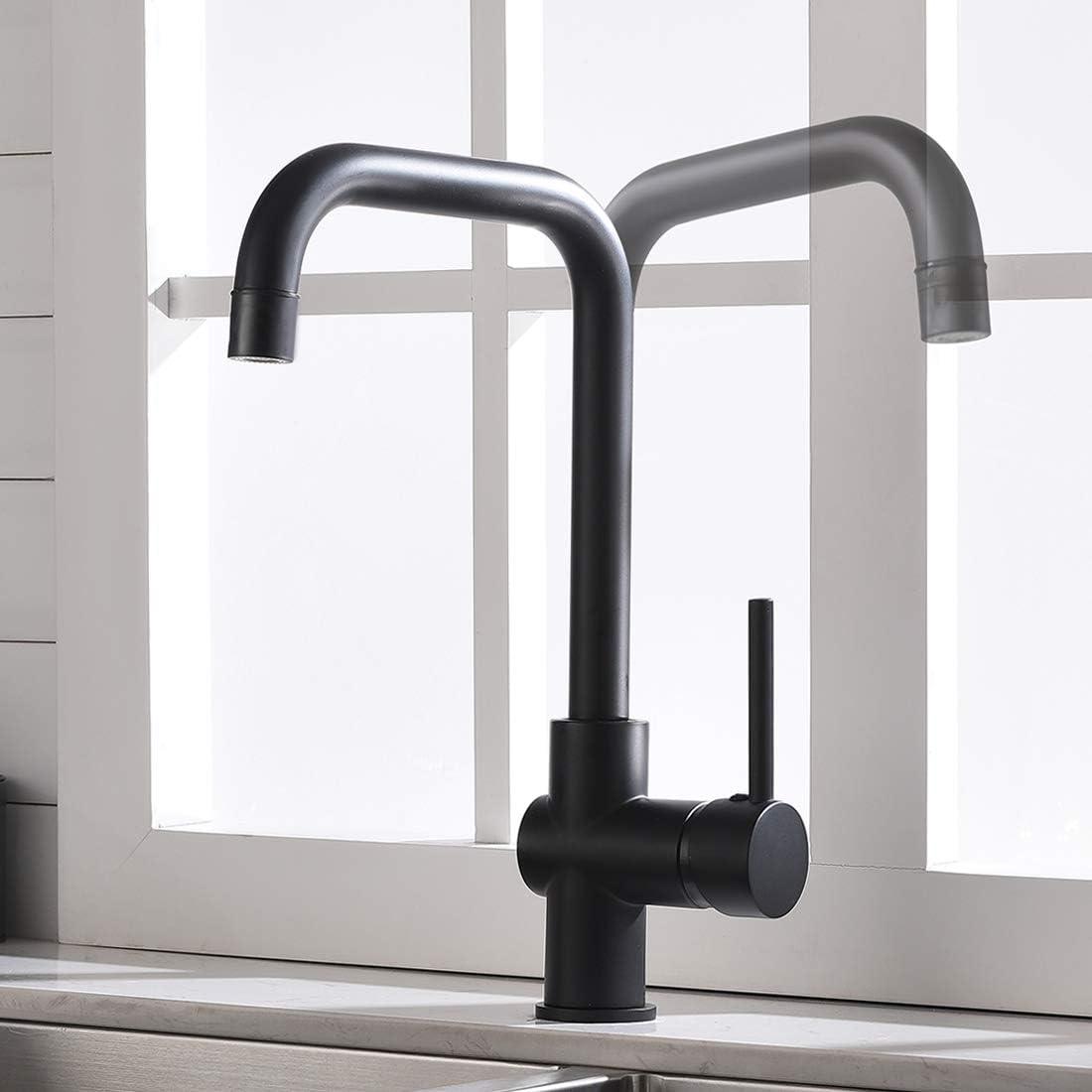 TIMACO Niederdruck Küchenarmatur Schwarz Wasserhahn Einhebel